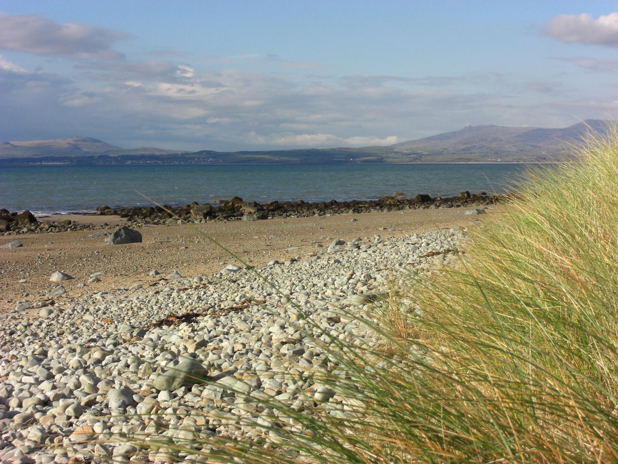 View from Llandanwg beach towards Criccieth